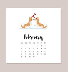 february dog 2018 year calendar vector image