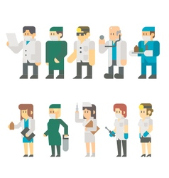 Flat design of medical worker set vector image