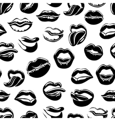 Seamless pattern with black sexy lips vector image vector image