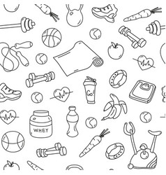 seamless pattern with isolated fitness doodles vector image