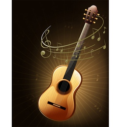 A brown guitar with musical notes vector image