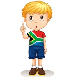 African boy pointing up vector image vector image