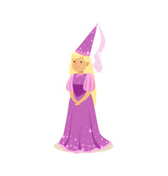 Beautifull blonde little girl princess in a purple vector