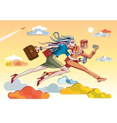 Businesswoman And Businessman Running Orange vector image vector image