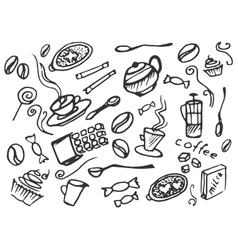 Doodle set of coffee vector image