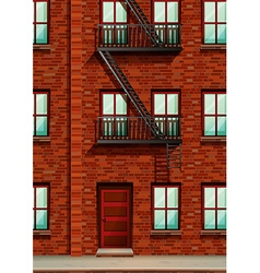 Fire escape on the side of apartment vector image vector image