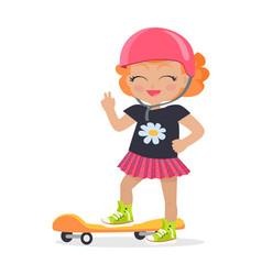 girl in pink helmet and skirt orange skateboard vector image
