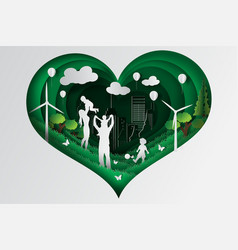 paper art of happy family having fun playing vector image