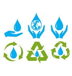 save water sign symbol set vector image