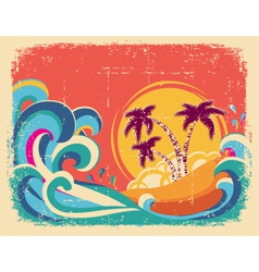 Vintage tropical card on old paper texture vector image
