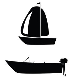 boat two black silhouette vector image
