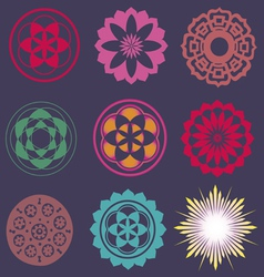 collection of esoteric flower elements vector image vector image