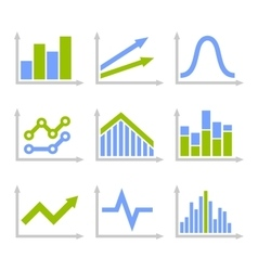 Color Graph Chart Icons Set on White Background vector image