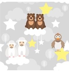 Cute animal kid seamless pattern Bear vector image vector image