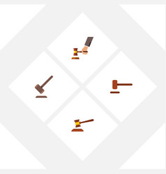 flat icon hammer set of defense tribunal crime vector image