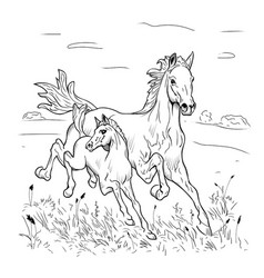 mare and foal hurry on steppe vector image