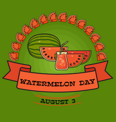 watermelon day poster greeting card about vector image vector image