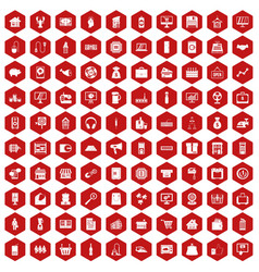 100 sales icons hexagon red vector