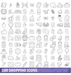 100 shopping icons set outline style vector image