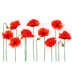 Abstract beautiful background with red poppies vector
