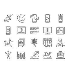 advertising line icon set vector image