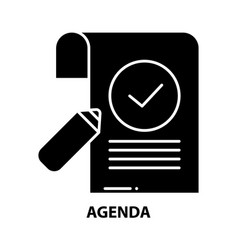 Agenda icon black sign with editable vector
