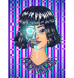 artificial intelligence concept a woman with half vector image