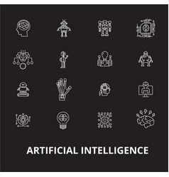 artificial intelligence editable line icons vector image