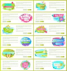 Best spring big sale advertisement labels flowers vector