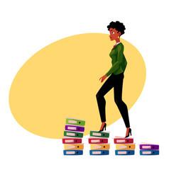 Black african american businesswoman climbing up vector