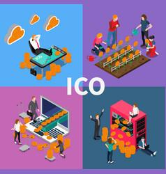Blockchain ico isometric concept vector