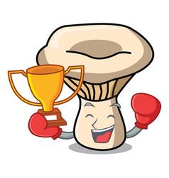Boxing winner milk mushroom mascot cartoon vector