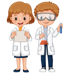 boy and girl in science gown vector image