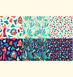 bundle of hand drawn seamless patterns with vector image