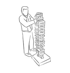 Businessman playing big wood block tower game vector