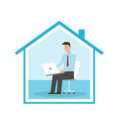 businessman working from home with his laptop vector image