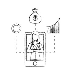 Businesswoman and smartphone money bag diagram vector