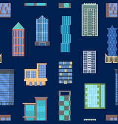 cartoon buildings signs seamless pattern vector image
