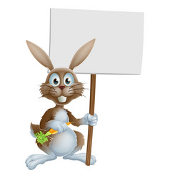 cartoon bunny rabbit carrot and sign vector image