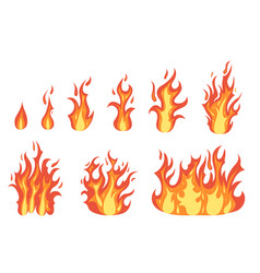 cartoon color orange fire flame set vector image