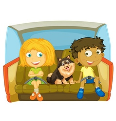Children and dog sitting in the car vector image