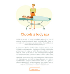 Chocolate body spa web poster text sample vector