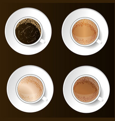 Coffee cups top view vector
