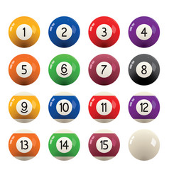 collection of billiard pool balls with numbers vector image