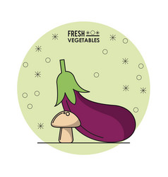 colorful poster of fresh vegetables with eggplant vector image