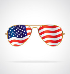 Cool gold rim aviator sunglasses with usa flag vector