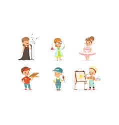 Cute kids various professions set singer vector
