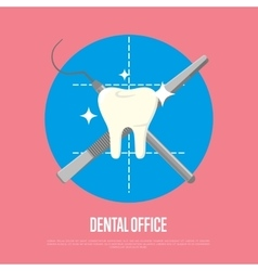 Dental office banner with syringe and scalpel vector image