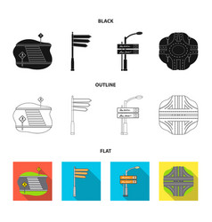 Direction signs and other web icon in blackflat vector