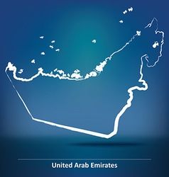 Doodle Map of United Arab Emirates vector image